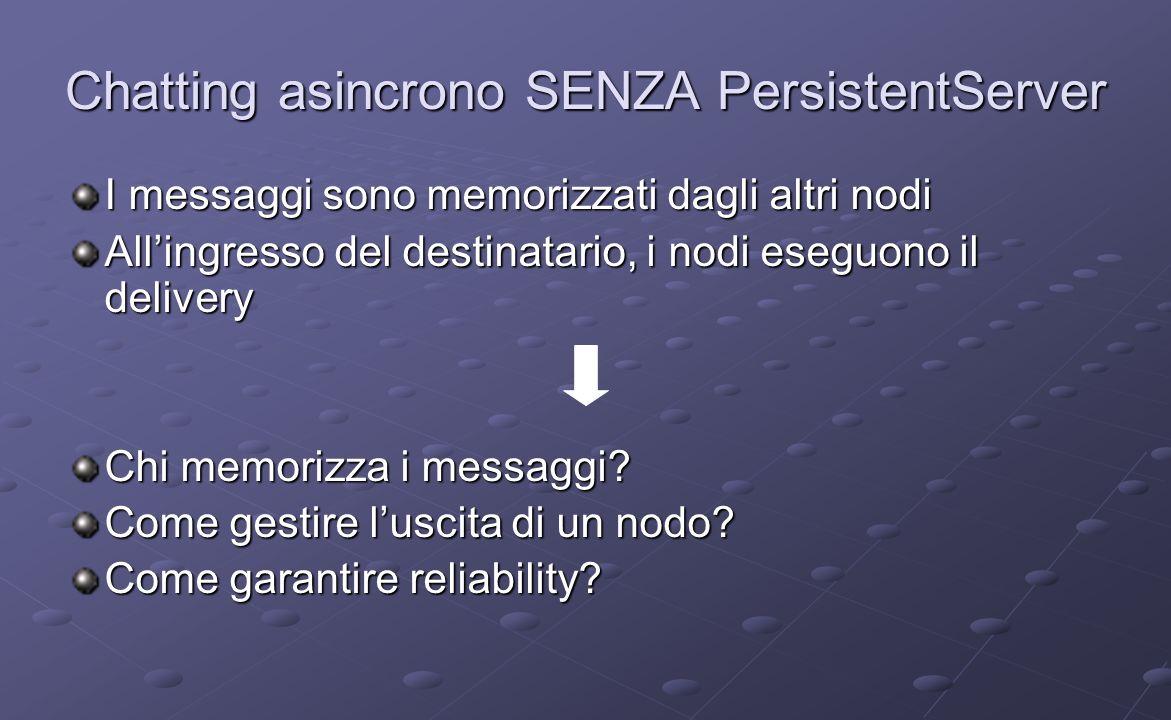 Chatting asincrono SENZA PersistentServer I messaggi sono memorizzati dagli altri nodi Allingresso del destinatario, i nodi eseguono il delivery Chi memorizza i messaggi.