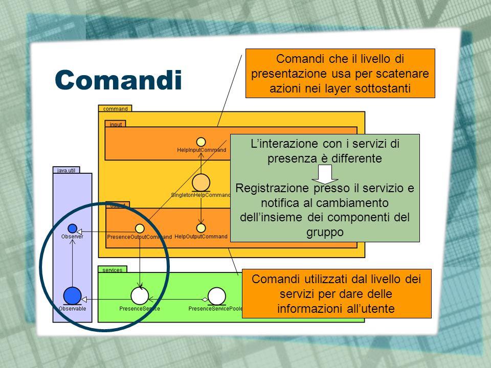 Comandi Comandi che il livello di presentazione usa per scatenare azioni nei layer sottostanti Comandi utilizzati dal livello dei servizi per dare delle informazioni allutente Linterazione con i servizi di presenza è differente Registrazione presso il servizio e notifica al cambiamento dellinsieme dei componenti del gruppo