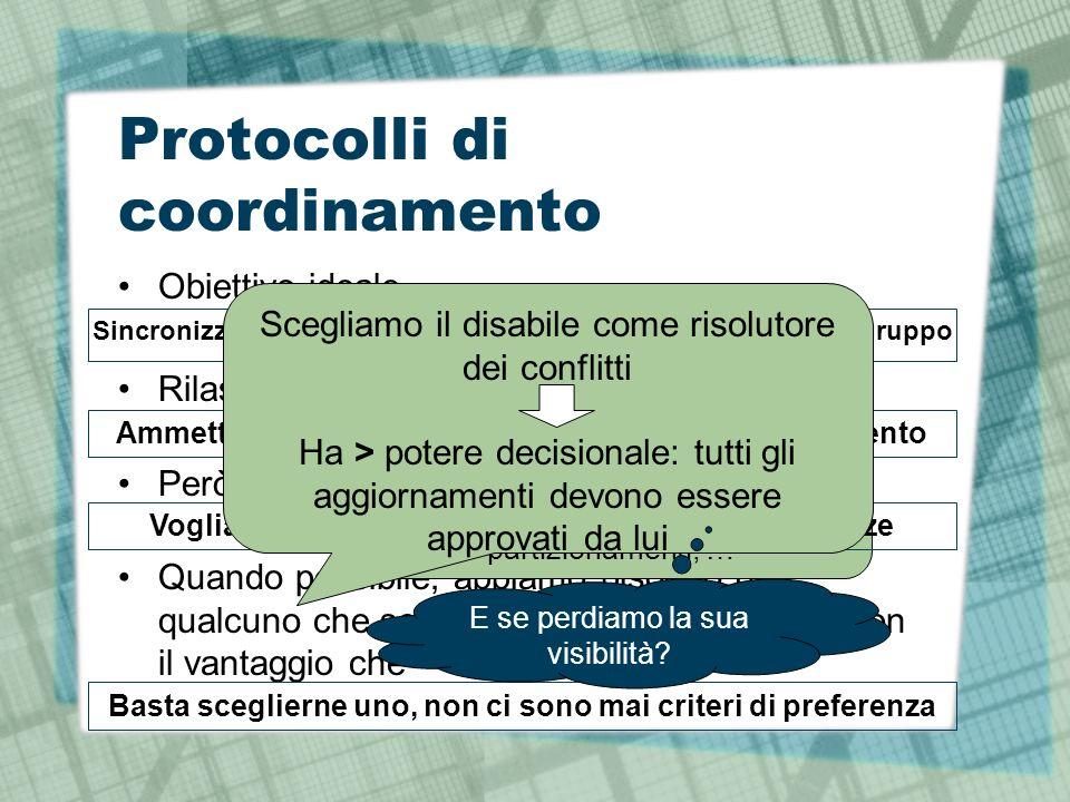 Protocolli di coordinamento Obiettivo ideale Rilassamento Però Quando possibile, abbiamo bisogno di qualcuno che scelga uno dei contendenti, con il vantaggio che Sincronizzazione perfetta delle liste di ogni componente del gruppo Irrealizzabile.