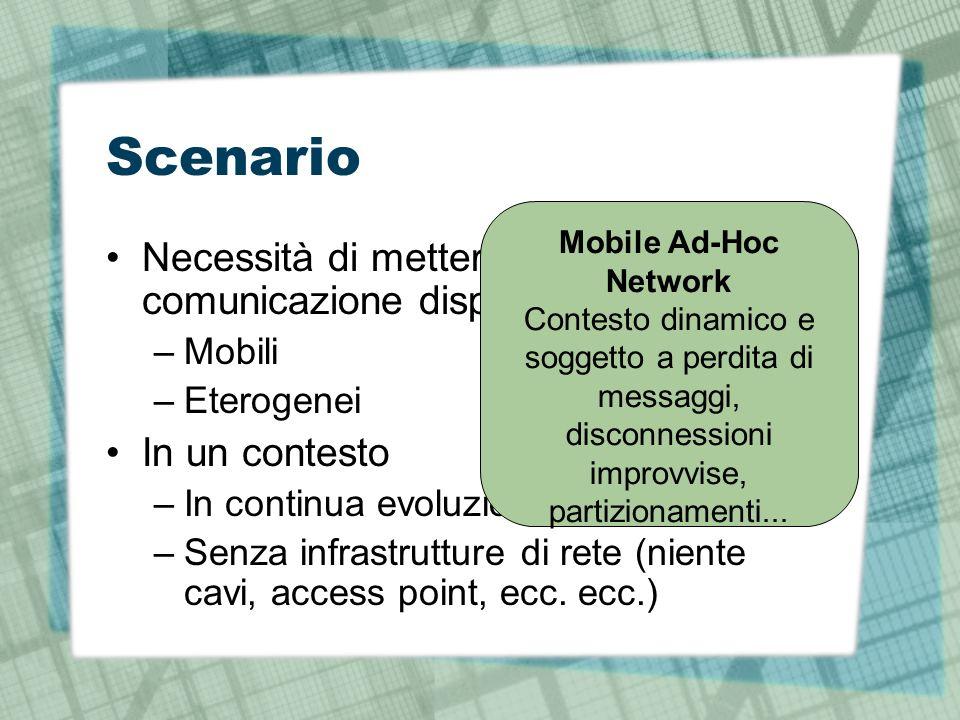 Scenario Necessità di mettere in comunicazione dispositivi –Mobili –Eterogenei In un contesto –In continua evoluzione –Senza infrastrutture di rete (niente cavi, access point, ecc.