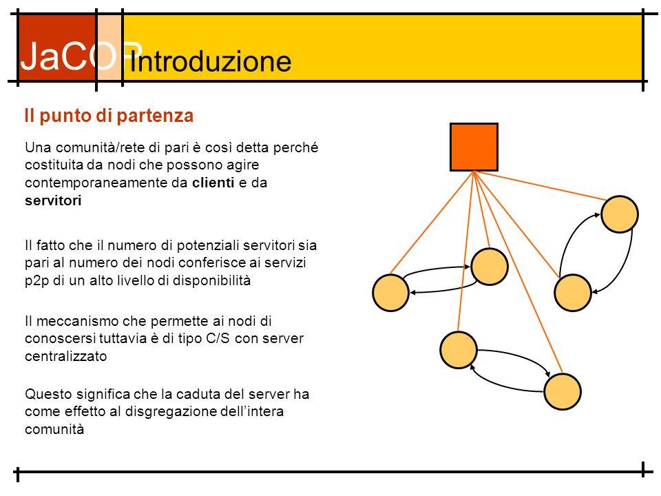 JaCOP Il punto di partenza Una comunità/rete di pari è così detta perché costituita da nodi che possono agire contemporaneamente da clienti e da servitori Introduzione Il fatto che il numero di potenziali servitori sia pari al numero dei nodi conferisce ai servizi p2p di un alto livello di disponibilità Il meccanismo che permette ai nodi di conoscersi tuttavia è di tipo C/S con server centralizzato Questo significa che la caduta del server ha come effetto al disgregazione dellintera comunità