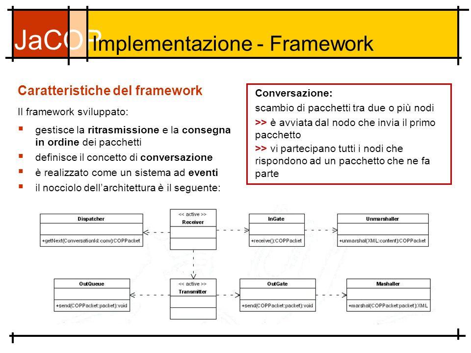 JaCOP Caratteristiche del framework Il framework sviluppato: gestisce la ritrasmissione e la consegna in ordine dei pacchetti definisce il concetto di conversazione è realizzato come un sistema ad eventi il nocciolo dellarchitettura è il seguente: Implementazione - Framework scambio di pacchetti tra due o più nodi >> è avviata dal nodo che invia il primo pacchetto >> vi partecipano tutti i nodi che rispondono ad un pacchetto che ne fa parte Conversazione: