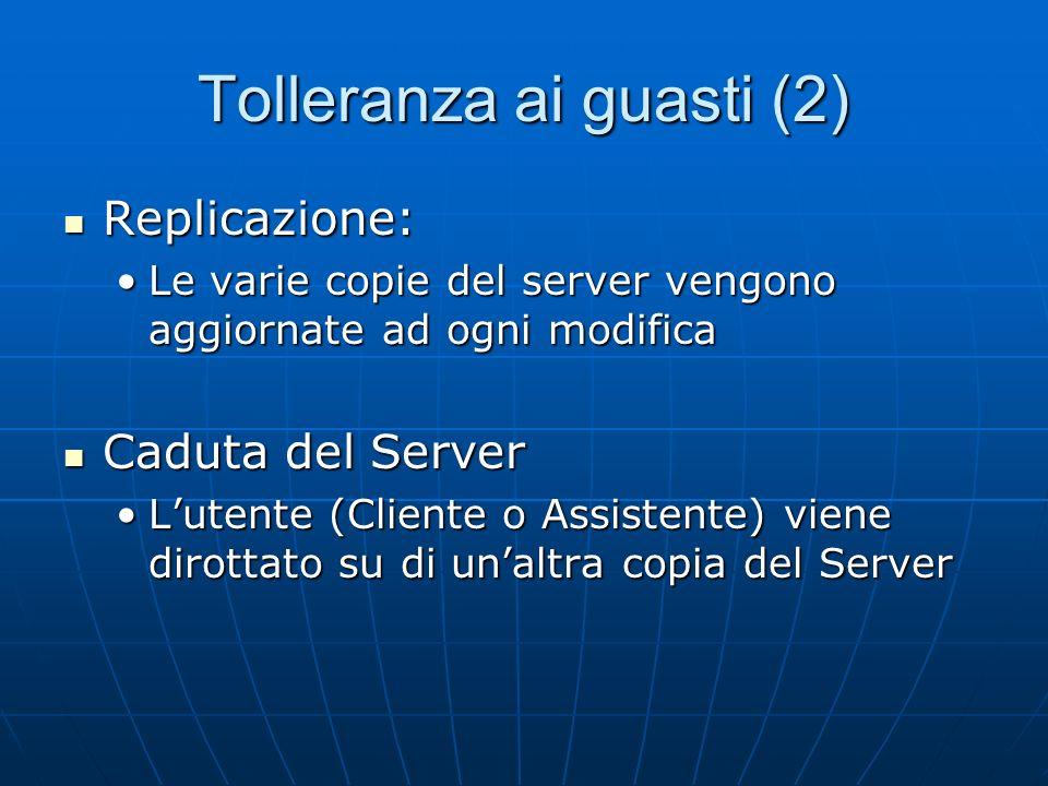 Tolleranza ai guasti (2) Replicazione: Replicazione: Le varie copie del server vengono aggiornate ad ogni modificaLe varie copie del server vengono aggiornate ad ogni modifica Caduta del Server Caduta del Server Lutente (Cliente o Assistente) viene dirottato su di unaltra copia del ServerLutente (Cliente o Assistente) viene dirottato su di unaltra copia del Server