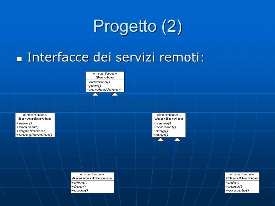 Progetto (2) Interfacce dei servizi remoti: Interfacce dei servizi remoti: