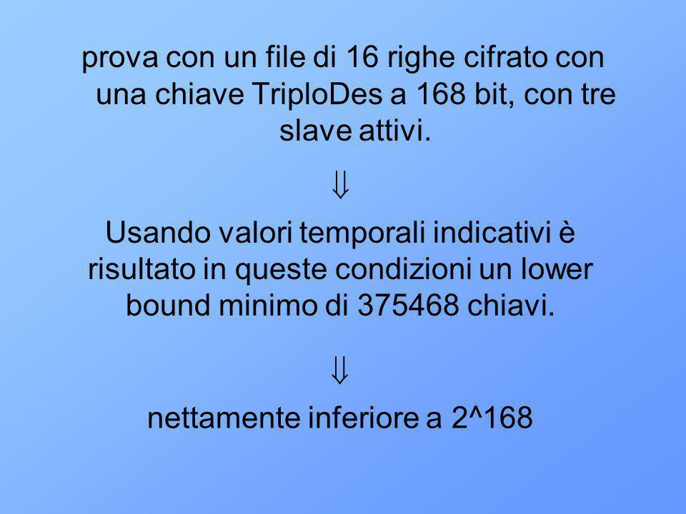 prova con un file di 16 righe cifrato con una chiave TriploDes a 168 bit, con tre slave attivi.