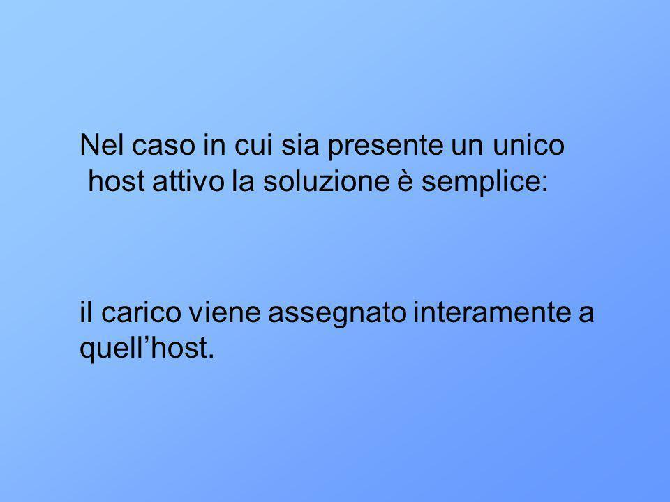 Nel caso in cui sia presente un unico host attivo la soluzione è semplice: il carico viene assegnato interamente a quellhost.