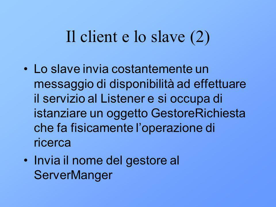 Il client e lo slave (2) Lo slave invia costantemente un messaggio di disponibilità ad effettuare il servizio al Listener e si occupa di istanziare un oggetto GestoreRichiesta che fa fisicamente loperazione di ricerca Invia il nome del gestore al ServerManger