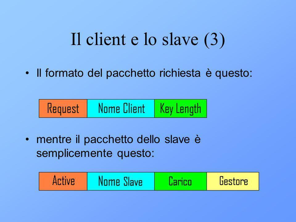 Il client e lo slave (3) Il formato del pacchetto richiesta è questo: mentre il pacchetto dello slave è semplicemente questo: