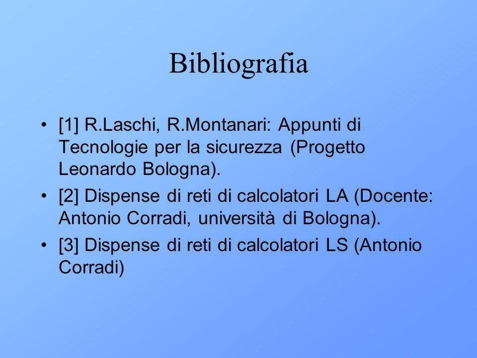 Bibliografia [1] R.Laschi, R.Montanari: Appunti di Tecnologie per la sicurezza (Progetto Leonardo Bologna).
