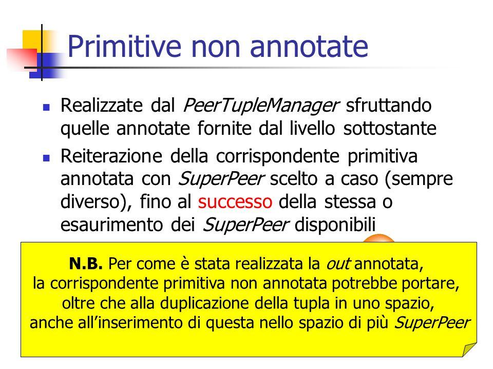 Primitive non annotate Realizzate dal PeerTupleManager sfruttando quelle annotate fornite dal livello sottostante Reiterazione della corrispondente pr