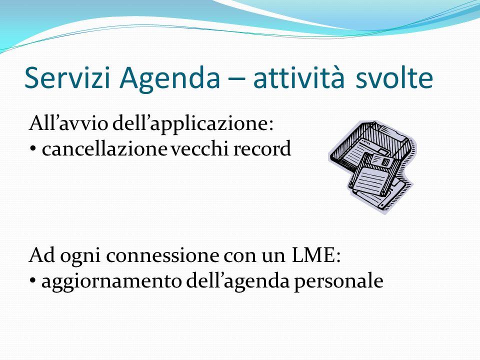 Servizi Agenda – attività svolte Allavvio dellapplicazione: cancellazione vecchi record Ad ogni connessione con un LME: aggiornamento dellagenda personale