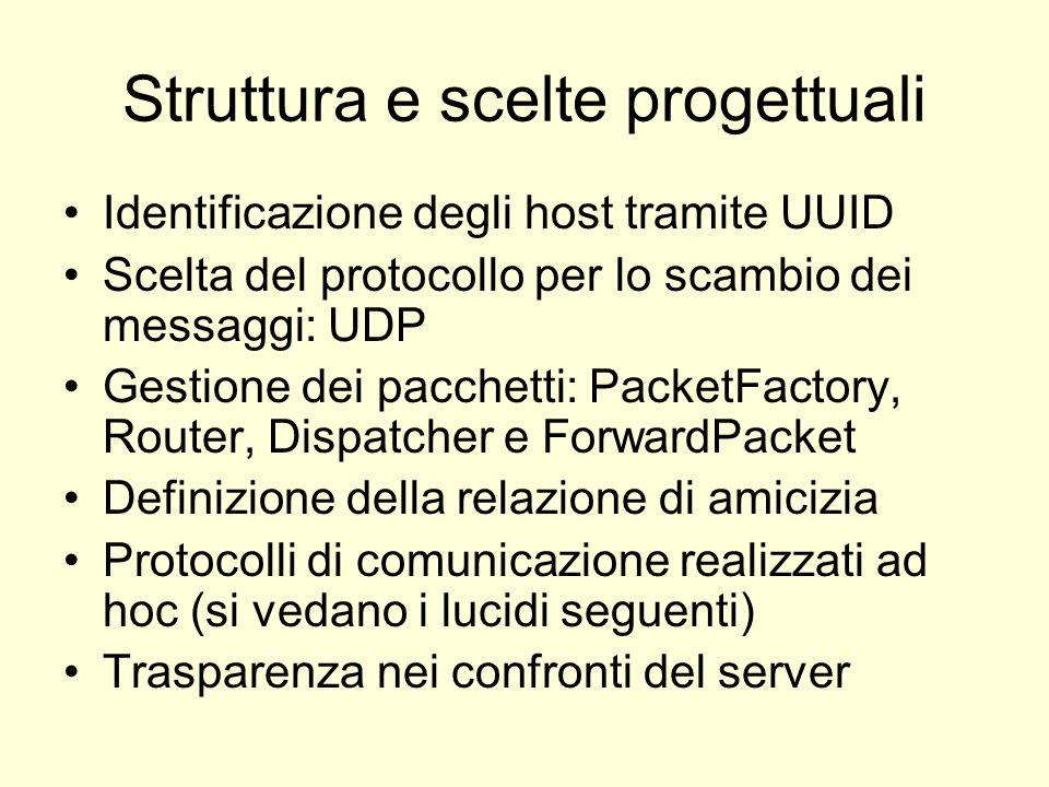 Struttura e scelte progettuali Identificazione degli host tramite UUID Scelta del protocollo per lo scambio dei messaggi: UDP Gestione dei pacchetti: