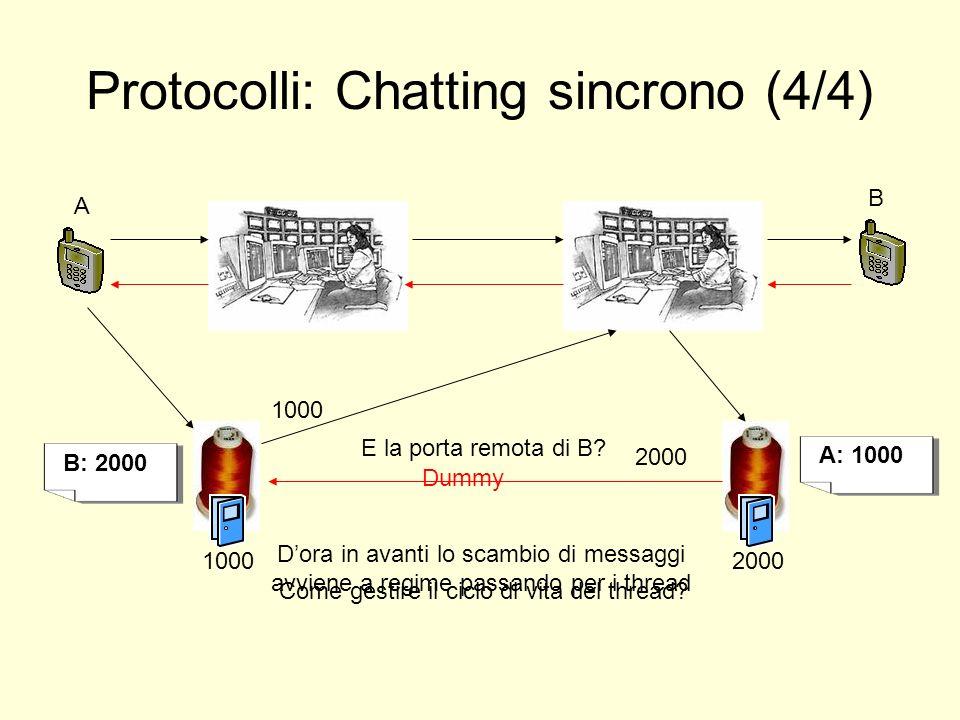 Protocolli: Chatting sincrono (4/4) A B 1000 2000 A: 1000 B: 2000 Come gestire il ciclo di vita del thread? E la porta remota di B? Dora in avanti lo