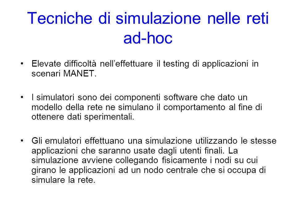 Tecniche di simulazione nelle reti ad-hoc Elevate difficoltà nelleffettuare il testing di applicazioni in scenari MANET.