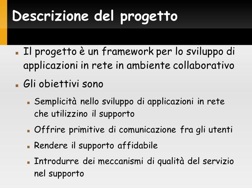 Descrizione del progetto Il progetto è un framework per lo sviluppo di applicazioni in rete in ambiente collaborativo Gli obiettivi sono Semplicità nello sviluppo di applicazioni in rete che utilizzino il supporto Offrire primitive di comunicazione fra gli utenti Rendere il supporto affidabile Introdurre dei meccanismi di qualità del servizio nel supporto