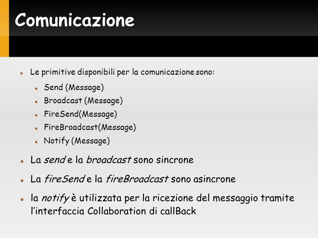 Comunicazione Le primitive disponibili per la comunicazione sono: Send (Message) Broadcast (Message) FireSend(Message) FireBroadcast(Message) Notify (Message) La send e la broadcast sono sincrone La fireSend e la fireBroadcast sono asincrone la notify è utilizzata per la ricezione del messaggio tramite linterfaccia Collaboration di callBack