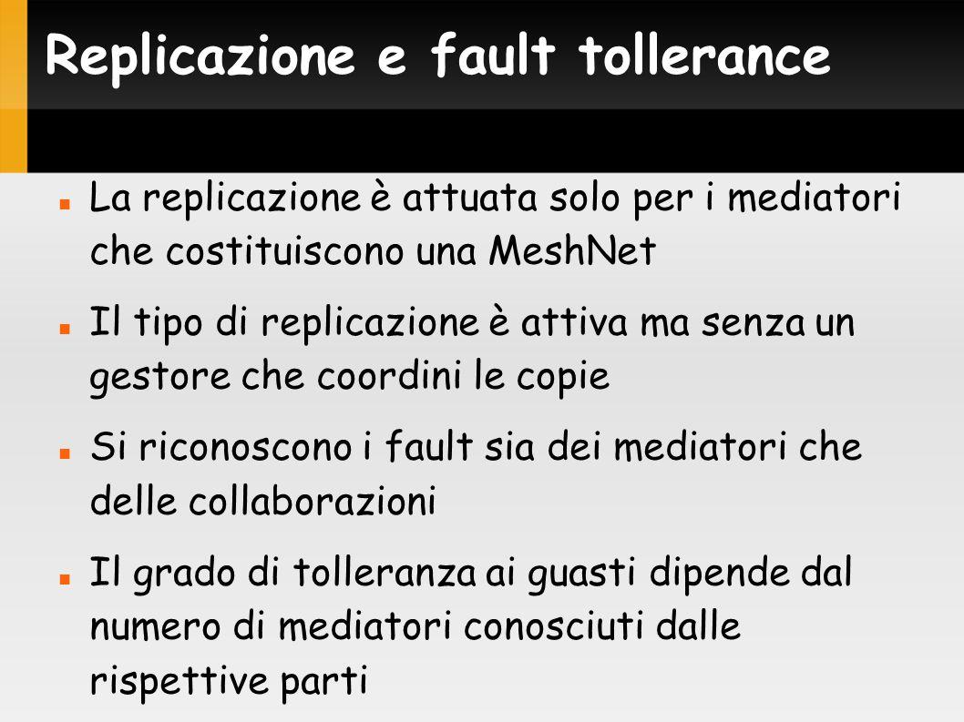 Replicazione e fault tollerance La replicazione è attuata solo per i mediatori che costituiscono una MeshNet Il tipo di replicazione è attiva ma senza