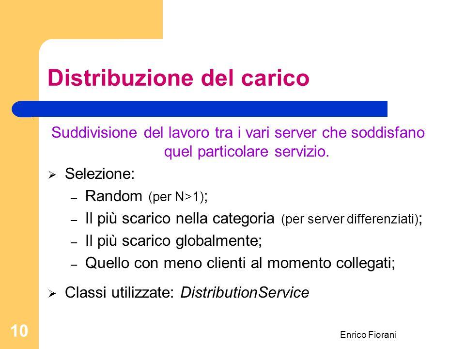 Enrico Fiorani 10 Distribuzione del carico Suddivisione del lavoro tra i vari server che soddisfano quel particolare servizio.