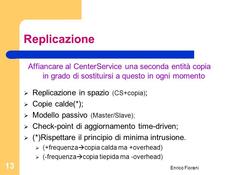 Enrico Fiorani 13 Replicazione Affiancare al CenterService una seconda entità copia in grado di sostituirsi a questo in ogni momento Replicazione in spazio (CS+copia) ; Copie calde(*); Modello passivo (Master/Slave); Check-point di aggiornamento time-driven; (*)Rispettare il principio di minima intrusione.
