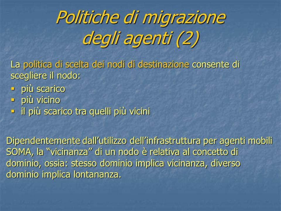 Politiche di migrazione degli agenti (2) più scarico più scarico più vicino più vicino il più scarico tra quelli più vicini il più scarico tra quelli