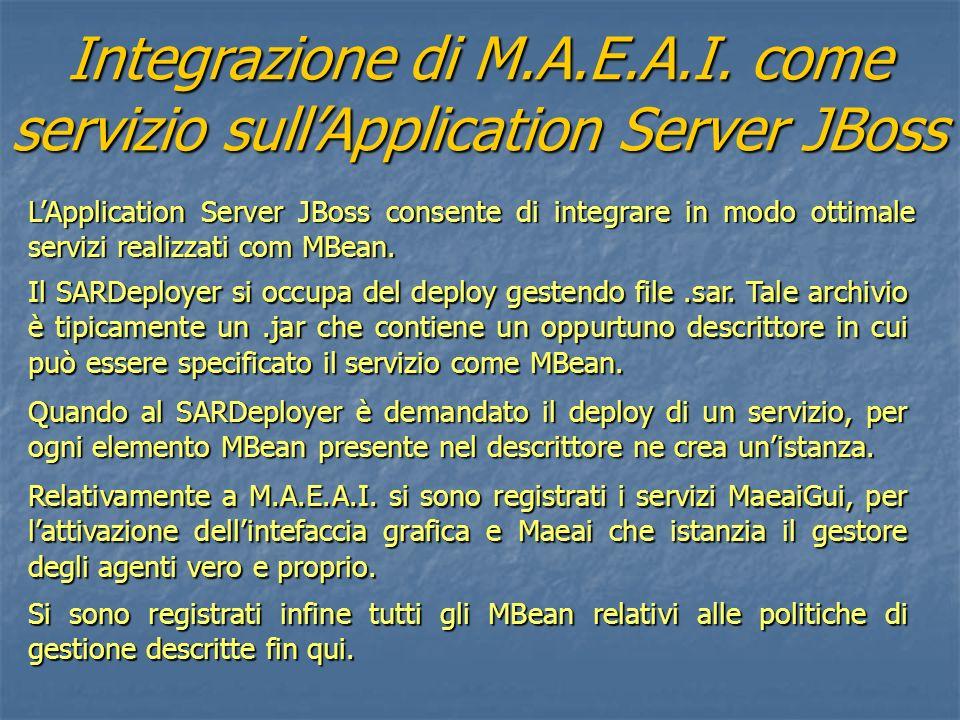 Integrazione di M.A.E.A.I. come servizio sullApplication Server JBoss LApplication Server JBoss consente di integrare in modo ottimale servizi realizz