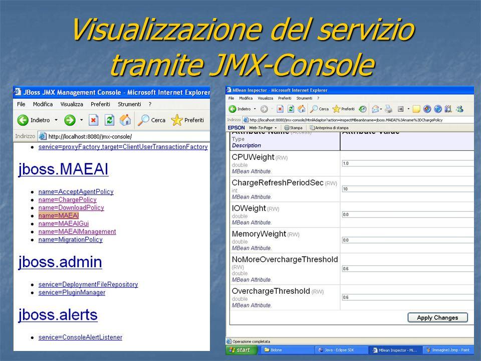 Visualizzazione del servizio tramite JMX-Console