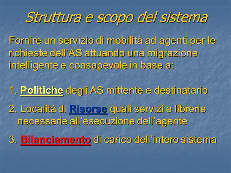 Fornire un servizio di mobilità ad agenti per le richieste dellAS attuando una migrazione intelligente e consapevole in base a: 1.