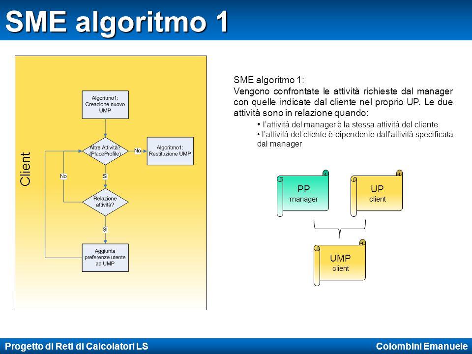 Progetto di Reti di Calcolatori LS Colombini Emanuele SME algoritmo 1 Client PP manager UP client UMP client SME algoritmo 1: Vengono confrontate le attività richieste dal manager con quelle indicate dal cliente nel proprio UP.