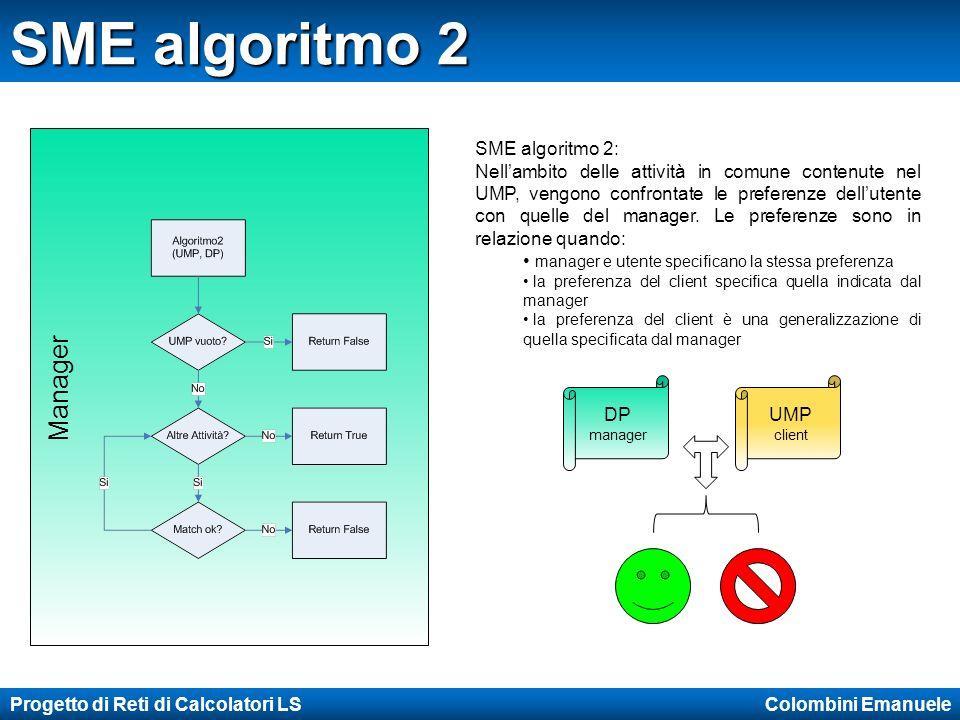 Progetto di Reti di Calcolatori LS Colombini Emanuele SME algoritmo 2 Manager SME algoritmo 2: Nellambito delle attività in comune contenute nel UMP, vengono confrontate le preferenze dellutente con quelle del manager.
