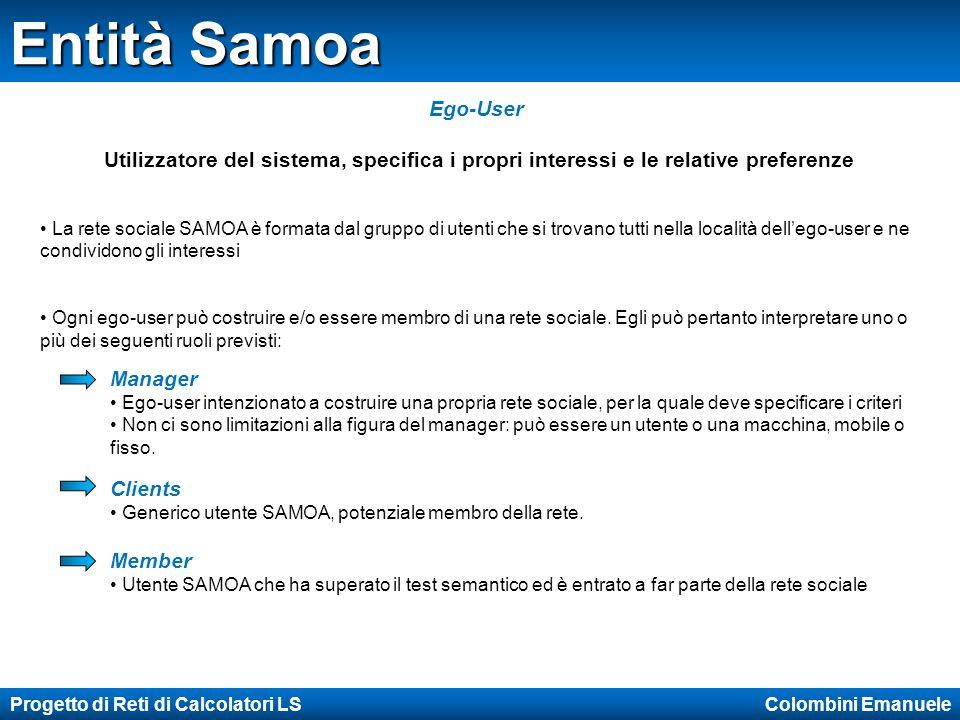 Progetto di Reti di Calcolatori LS Colombini Emanuele Profili Samoa User Profile contiene la lista degli interessi dellego-user e le attività da lui svolte, specificando ove necessario le preferenze Place Profile descrive la località in cui si sviluppa la rete sociale.