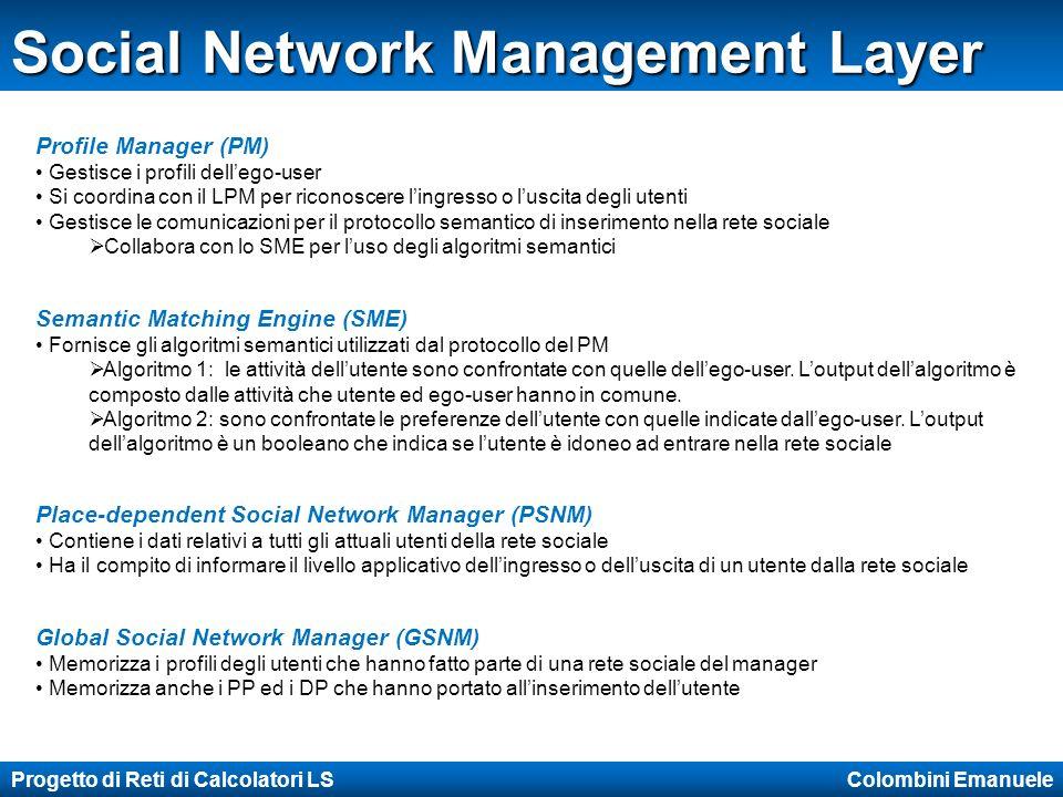 Progetto di Reti di Calcolatori LS Colombini Emanuele Social Network Management Layer Profile Manager (PM) Gestisce i profili dellego-user Si coordina con il LPM per riconoscere lingresso o luscita degli utenti Gestisce le comunicazioni per il protocollo semantico di inserimento nella rete sociale Collabora con lo SME per luso degli algoritmi semantici Semantic Matching Engine (SME) Fornisce gli algoritmi semantici utilizzati dal protocollo del PM Algoritmo 1: le attività dellutente sono confrontate con quelle dellego-user.