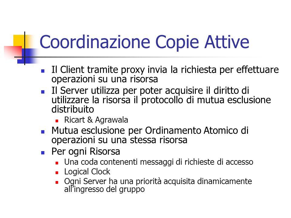 Coordinazione Copie Attive Il Client tramite proxy invia la richiesta per effettuare operazioni su una risorsa Il Server utilizza per poter acquisire