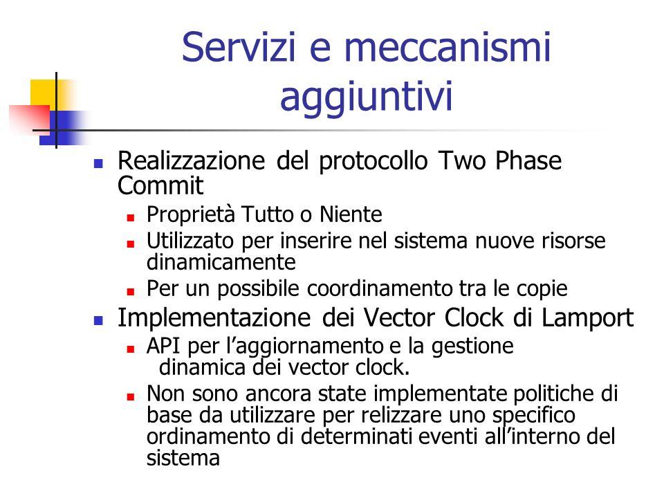 Servizi e meccanismi aggiuntivi Realizzazione del protocollo Two Phase Commit Proprietà Tutto o Niente Utilizzato per inserire nel sistema nuove risorse dinamicamente Per un possibile coordinamento tra le copie Implementazione dei Vector Clock di Lamport API per laggiornamento e la gestione dinamica dei vector clock.
