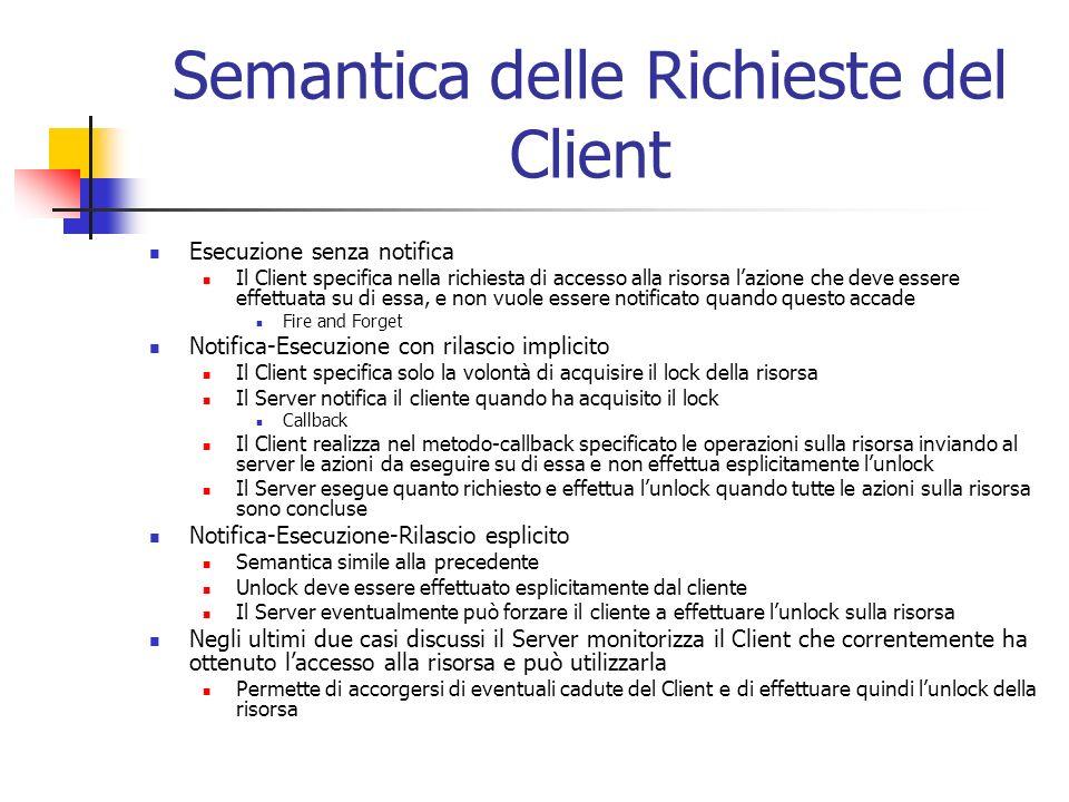 Semantica delle Richieste del Client Esecuzione senza notifica Il Client specifica nella richiesta di accesso alla risorsa lazione che deve essere eff