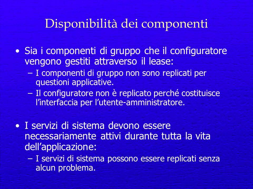 Disponibilità dei componenti Sia i componenti di gruppo che il configuratore vengono gestiti attraverso il lease: –I componenti di gruppo non sono replicati per questioni applicative.