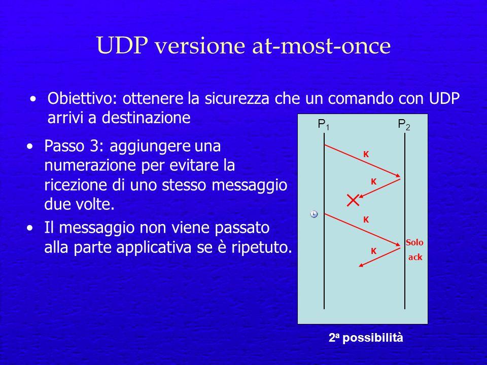 UDP versione at-most-once Obiettivo: ottenere la sicurezza che un comando con UDP arrivi a destinazione P1P1 P2P2 2 a possibilità Passo 3: aggiungere una numerazione per evitare la ricezione di uno stesso messaggio due volte.
