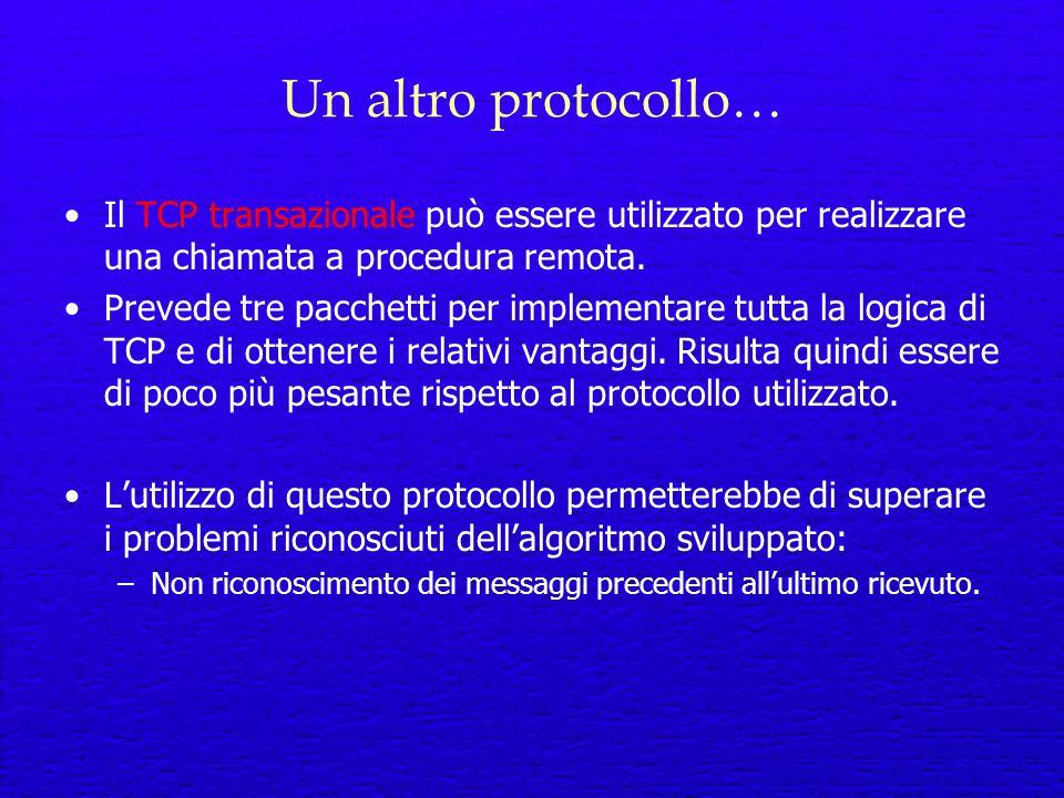 Un altro protocollo… Il TCP transazionale può essere utilizzato per realizzare una chiamata a procedura remota.