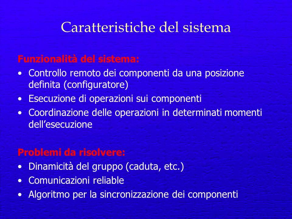 Caratteristiche del sistema Funzionalità del sistema: Controllo remoto dei componenti da una posizione definita (configuratore) Esecuzione di operazioni sui componenti Coordinazione delle operazioni in determinati momenti dellesecuzione Problemi da risolvere: Dinamicità del gruppo (caduta, etc.) Comunicazioni reliable Algoritmo per la sincronizzazione dei componenti