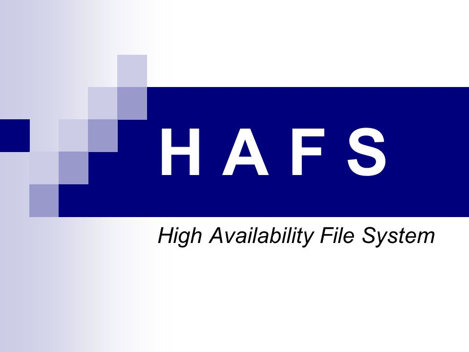 H A F S High Availability File System