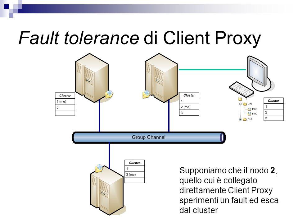 Fault tolerance di Client Proxy Supponiamo che il nodo 2, quello cui è collegato direttamente Client Proxy sperimenti un fault ed esca dal cluster