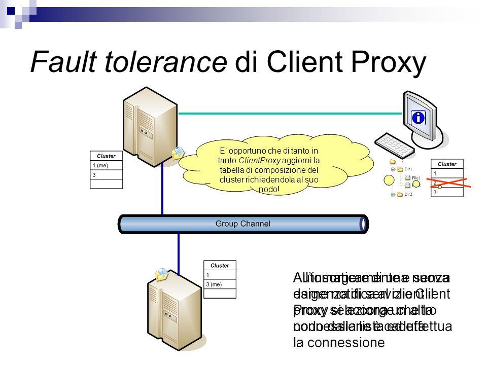 Fault tolerance di Client Proxy Allinsorgere di una nuova esigenza di servizio Client Proxy si accorge che la connessione è caduta Automaticamente e s