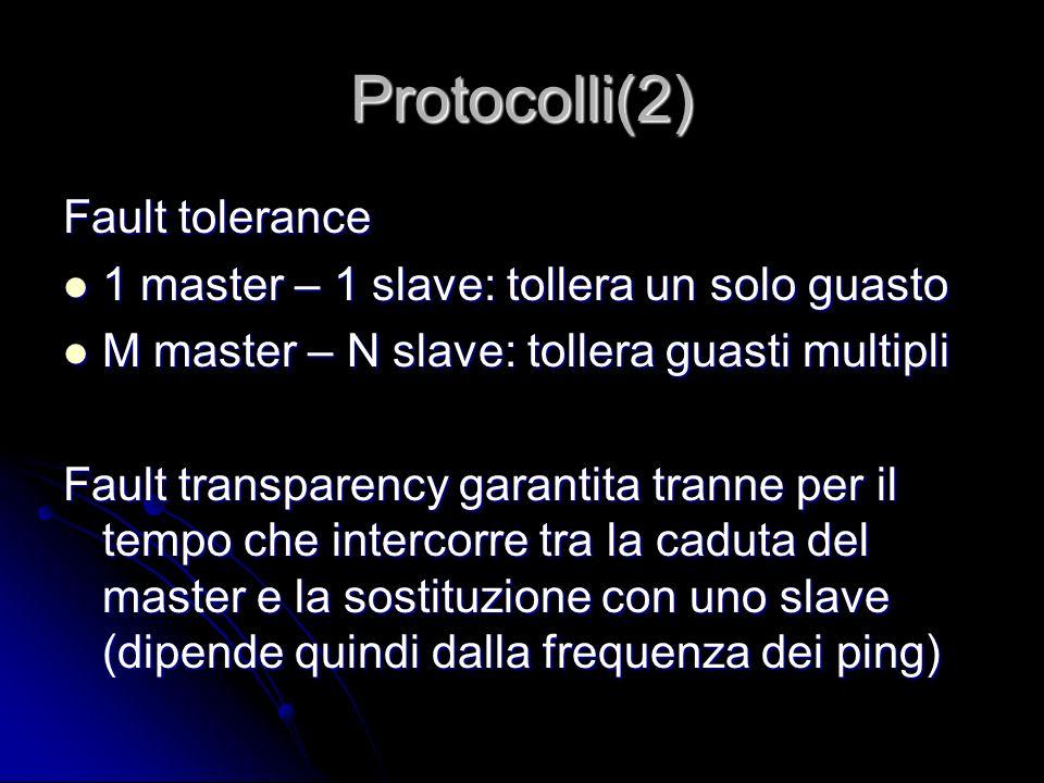 Protocolli(2) Fault tolerance 1 master – 1 slave: tollera un solo guasto 1 master – 1 slave: tollera un solo guasto M master – N slave: tollera guasti