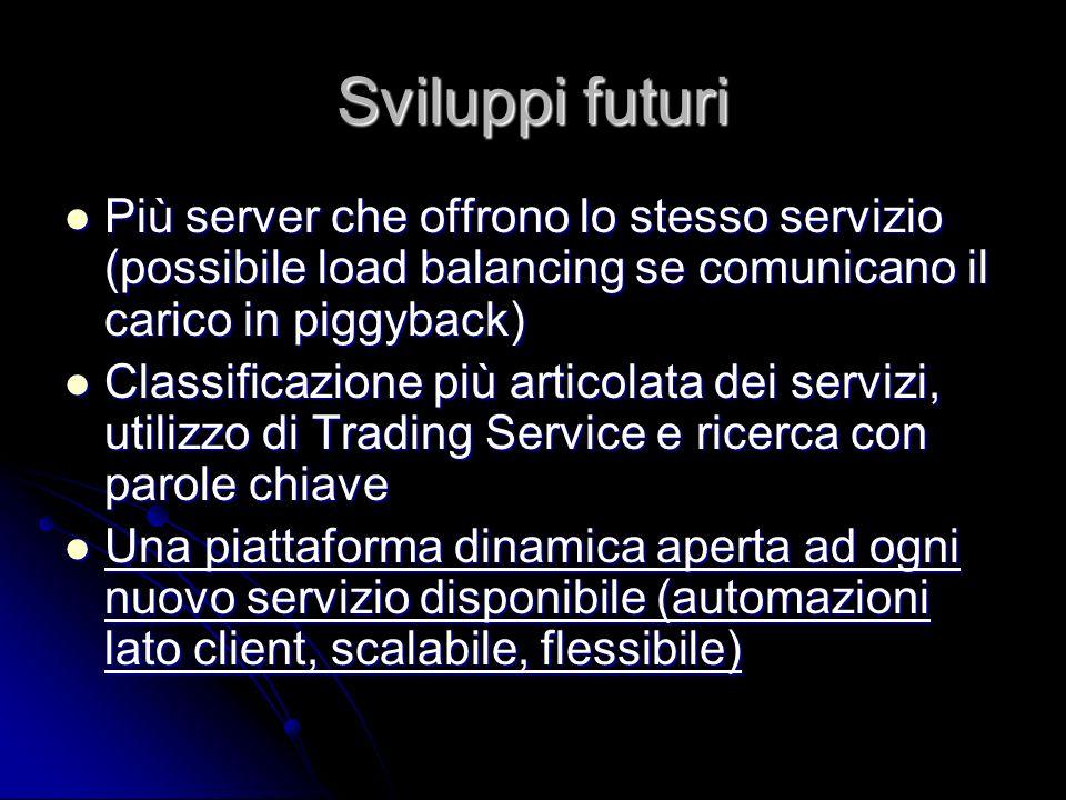 Sviluppi futuri Più server che offrono lo stesso servizio (possibile load balancing se comunicano il carico in piggyback) Più server che offrono lo st