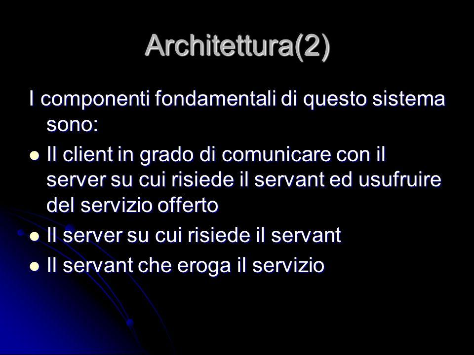Architettura(2) I componenti fondamentali di questo sistema sono: Il client in grado di comunicare con il server su cui risiede il servant ed usufruir
