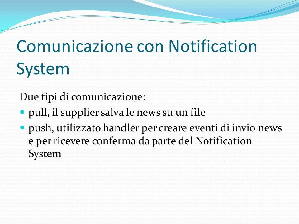 Comunicazione con Notification System Due tipi di comunicazione: pull, il supplier salva le news su un file push, utilizzato handler per creare eventi di invio news e per ricevere conferma da parte del Notification System
