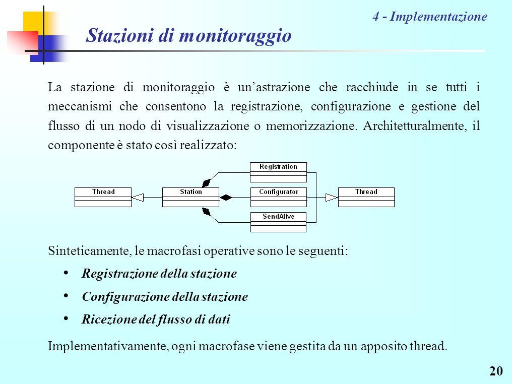 20 Stazioni di monitoraggio La stazione di monitoraggio è unastrazione che racchiude in se tutti i meccanismi che consentono la registrazione, configurazione e gestione del flusso di un nodo di visualizzazione o memorizzazione.