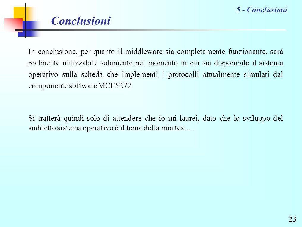23 Conclusioni In conclusione, per quanto il middleware sia completamente funzionante, sarà realmente utilizzabile solamente nel momento in cui sia disponibile il sistema operativo sulla scheda che implementi i protocolli attualmente simulati dal componente software MCF5272.