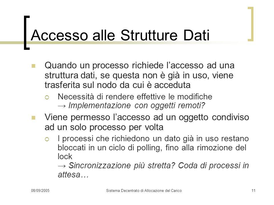 08/09/2005Sistema Decentrato di Allocazione del Carico11 Accesso alle Strutture Dati Quando un processo richiede laccesso ad una struttura dati, se qu