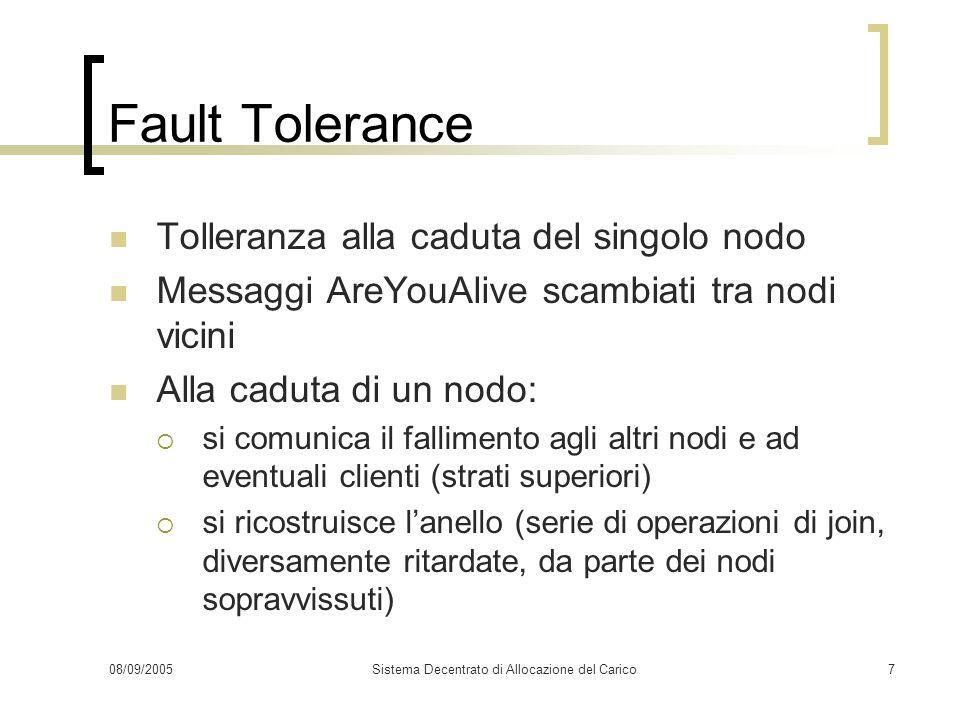 08/09/2005Sistema Decentrato di Allocazione del Carico7 Fault Tolerance Tolleranza alla caduta del singolo nodo Messaggi AreYouAlive scambiati tra nod