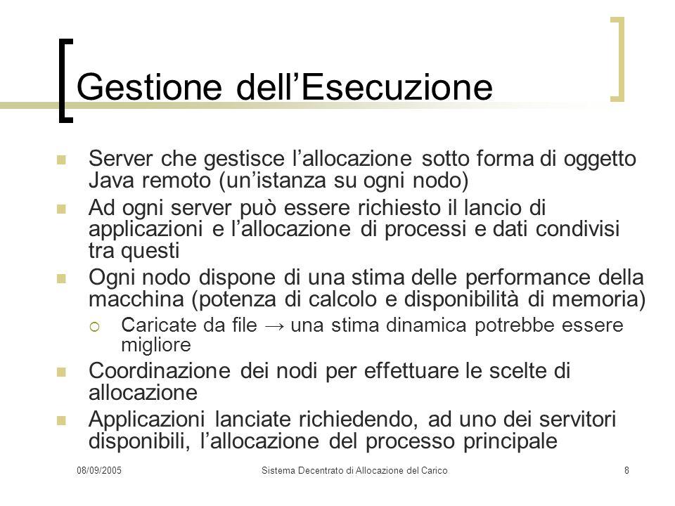08/09/2005Sistema Decentrato di Allocazione del Carico8 Gestione dellEsecuzione Server che gestisce lallocazione sotto forma di oggetto Java remoto (u